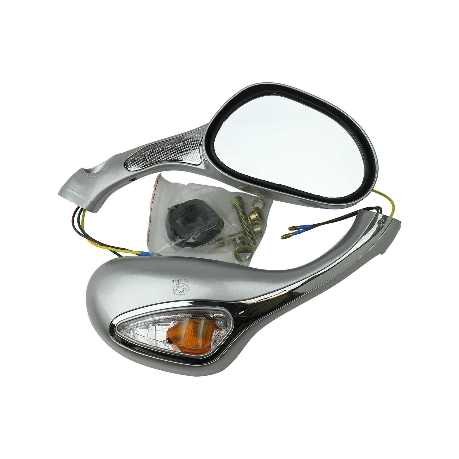 pair GOOFIT 8mm Black Rear View Mirror for GY6 50cc 125cc 150cc 250cc Scooter Moped Motorcycle