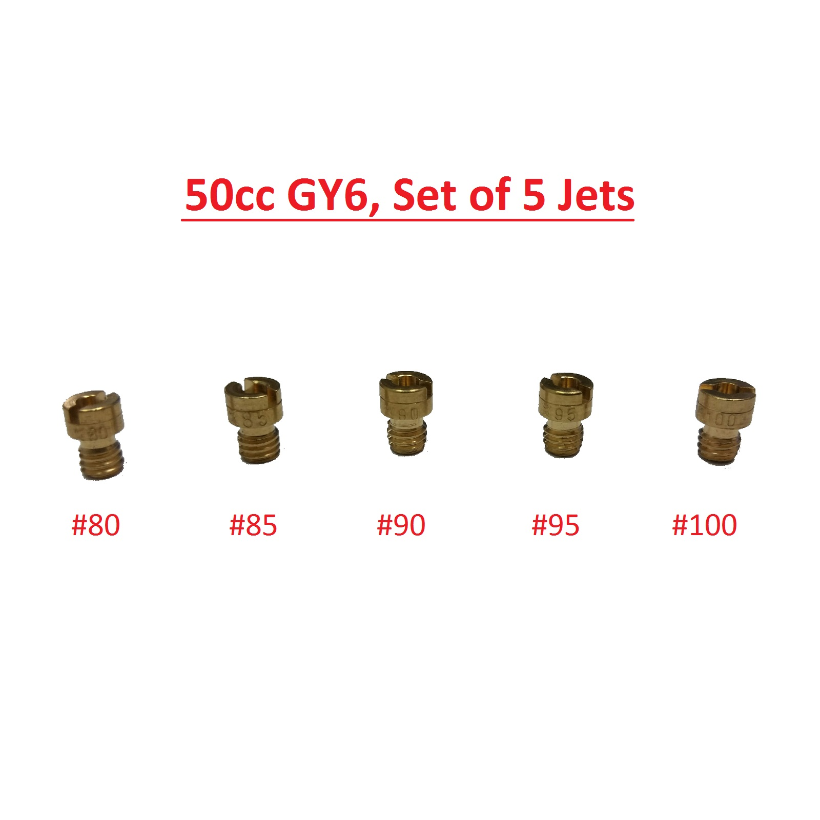 Main Jet 5pcs Set PD18 GY6 50:80, 85, 90, 95, 100