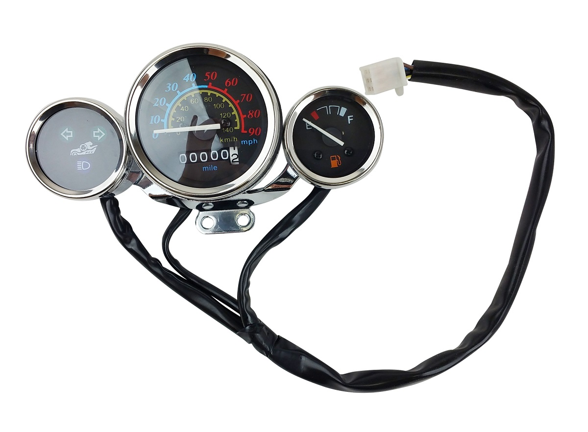 Scooter Speedometer Gas Gauge Cluster Retro Style 49cc 50cc Chrome