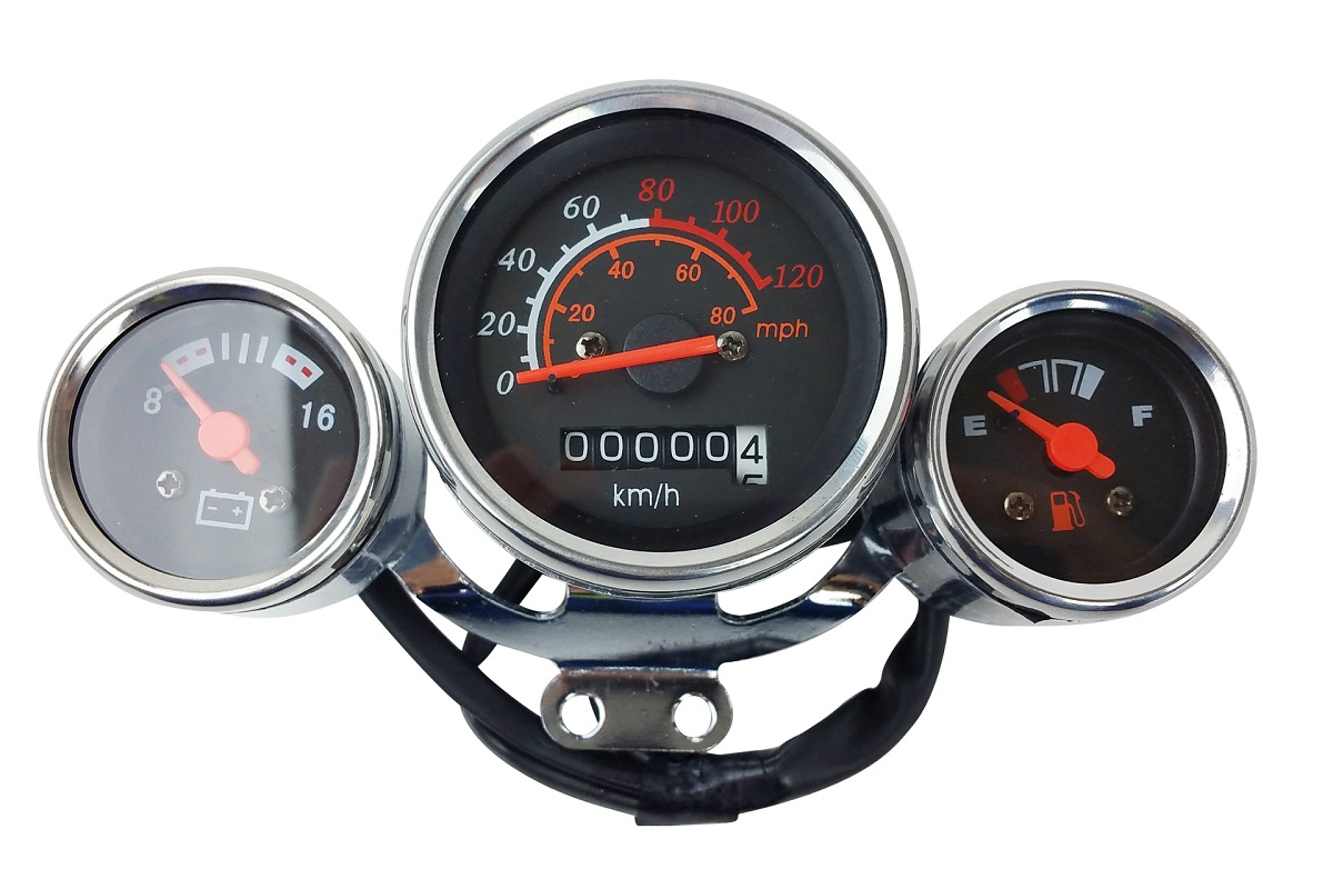 New Scooter Speedometer Gas Gauge Cluster Retro Style 49cc 50cc Chrome ZN50QT 80MPH