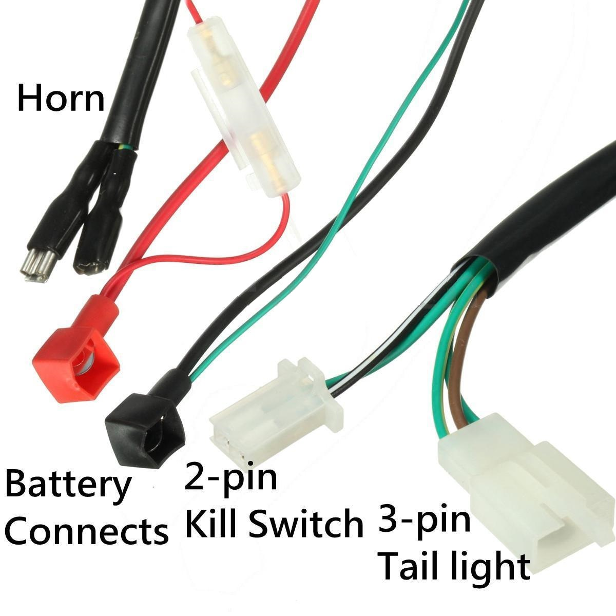 Wiring Harness 110cc Atv Automatic Engine 52fm Hawk Kill Remote Control