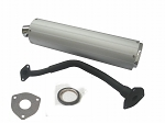 150 cc high flow scooter muffler/exhaust..- SILVER