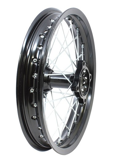 "BLACK Annodized Aluminum- 14"" Apollo Rear Rim Wheel Disc Brake"